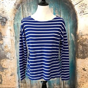 J. Crew-Blue and White Striped Long Sleeve Shirt